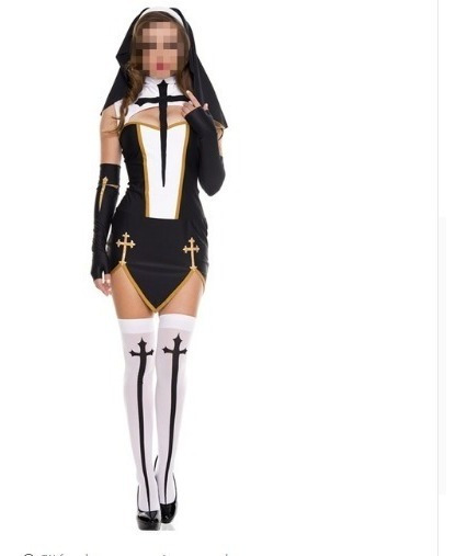 * 5 Piezas Disfraz Monja Halloween Cruz Medias Cosplay **