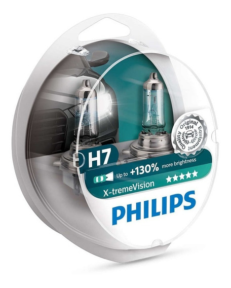 Kit Lampada Philips H7 X-treme Vision Plus 130% + Luz 3700k
