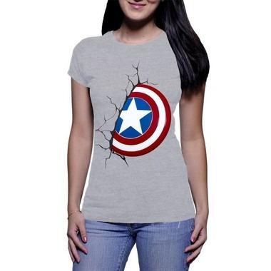 Camiseta Feminina Capitão América Cinza