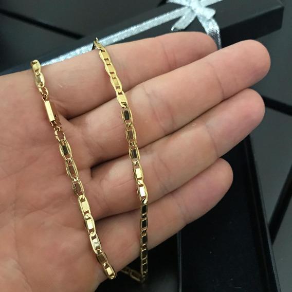 Cordão Colar Masculino Cadeado Folheada Ouro 18k 60cm 1,5mm