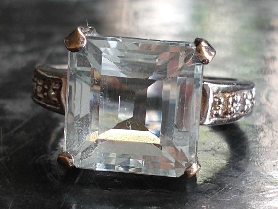 Jóia Anel Em Ouro Branco 18 K Pedra Água Marinha E Diamantes