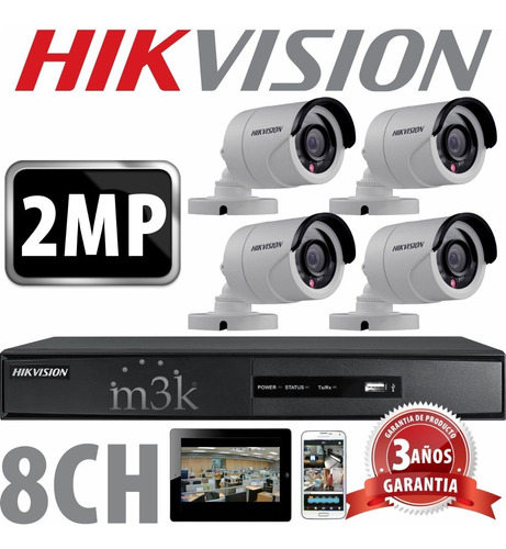Kit Seguridad Hikvision Full Hd Dvr 8 + 4 Camaras 2mp 1080p Exterior Infrarrojas + Ip Visualiza X Celular P2p Cctv