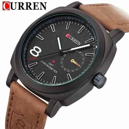 Relógio Curren 8139 Luxo Original Analógico Couro Promoção