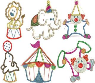 Circo E Animais - 24 Matrizes De Bordados Comput - Via Email