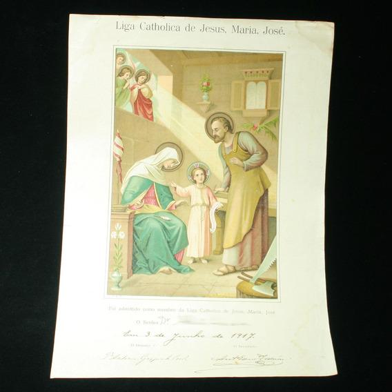 Raro Documendo Da Liga Catholica De Jesus, Maria, José -1917