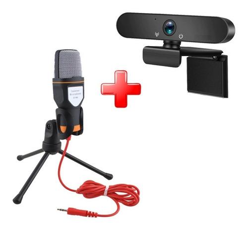 Combo Webcam Full Hd Streaming+micrófono Condensador Trípode