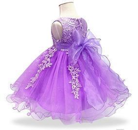 Vestido Infantil Princesa Jardim Encantado Bebê Lilás Lindo