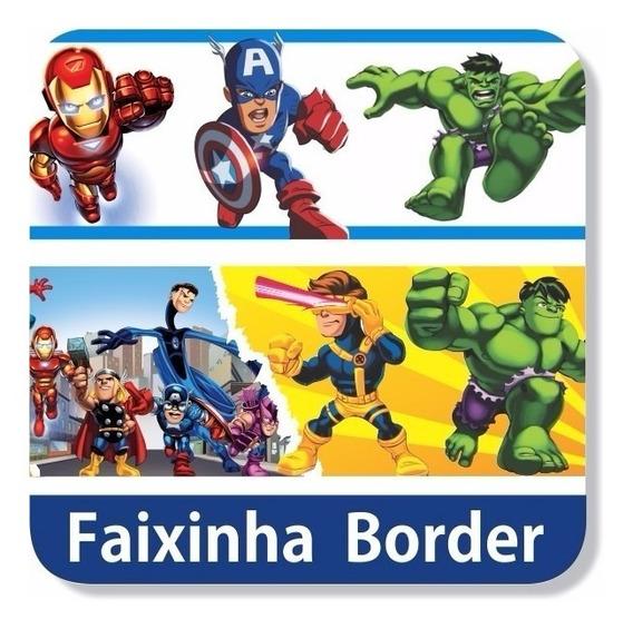 10 Metros De Faixa Adesiva Border Infantil Vingadores Herois