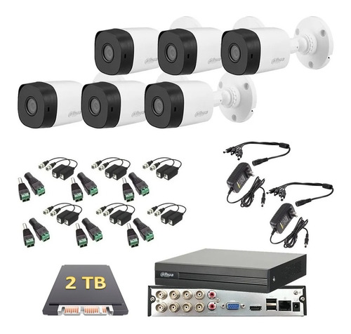 Imagen 1 de 6 de Kit 6 Cámaras 1080p Dahua Video Vigilancia Dahua 2 Tb
