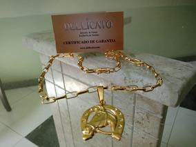Corrente Tijolinho + Pingente Moeda C/ Banho Ouro + Verniz