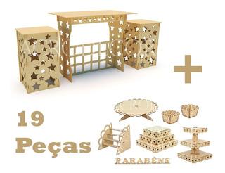 Kit Festa Mdf Provençal 19 Peças Mesa Cubo Bandejas