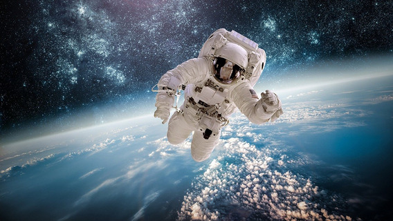 Fundo Fotográfico Tecido Astronauta No Espaço 3,00m X 1,70m