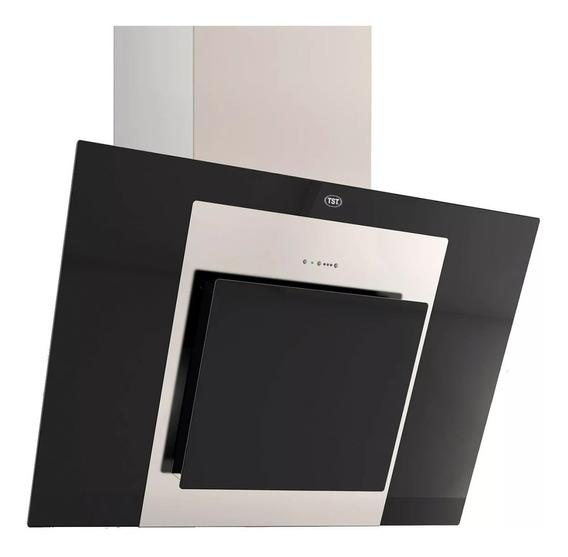 Campana Tst Espejo 60cm Acero + Vidrio Negro Plano Inclinado
