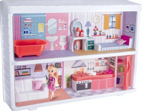 Kit Casa Quarto Sala + Cozinha + Banheiro + Boneca Infantil