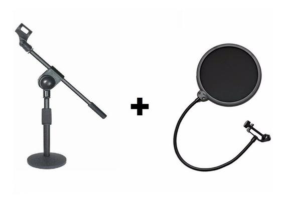 Combo Pedestal De Mesa Microfone Smart Ts 08 + Pop Filter