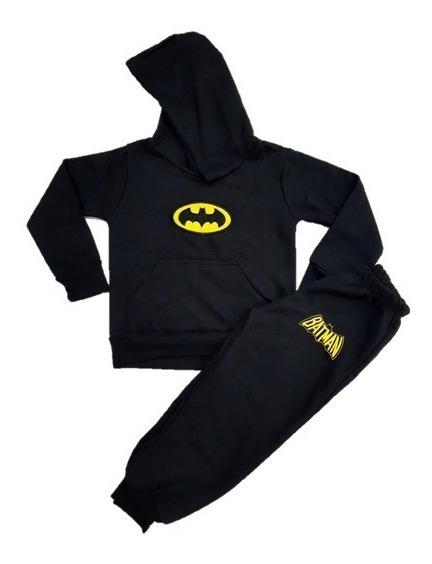 Conjunto Moletom Infantil Batman C/ Capuz Inverno Roupa Frio