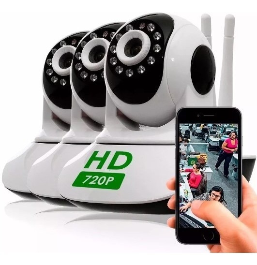 Kit 3 Câmera Segurança Ip Hd 720 Sem Fio Wifi P2p Áudio Sd