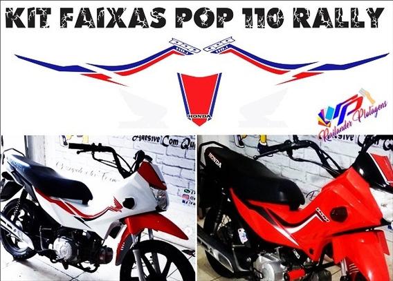 Kit Faixas Emblemas Adesivos Pop 110i Rally (todas As Cores)