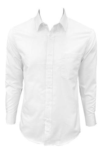 Imagen 1 de 5 de Camisa Blanca Manga Larga Extra Grande Hombre
