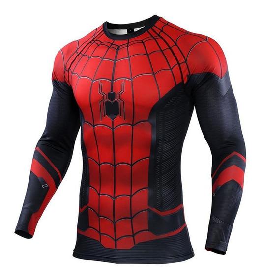 Playera Gym Lycra Spiderman Far Home Disfraz Manga Larga