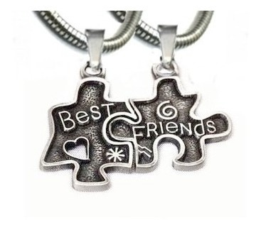 Corrente Best Friends Quebra-cabeça Cara Metade Bff