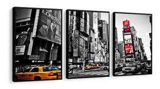 Quadro Mosaico New York Anoitecer Com Moldura Lisa 120x60