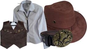 Colete Country Infantil Camisa Chapéu E Acessório Cowboy Kit