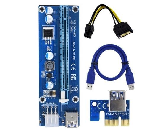 3 Cabos Riser Pci-e 6 Pin Mineração Criptomoeda Ethereum Zec