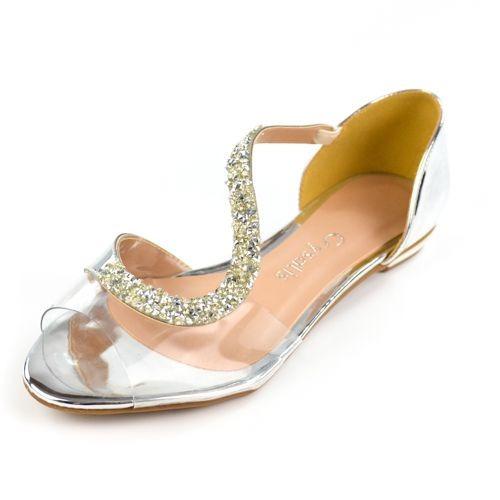 E Sandalia 41936071 Prata/cristal Glamour Crysalis 15814