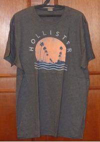 Camiseta Hollister, Usada, Cinza, Gg, 100% Original