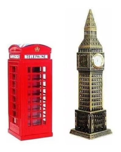 Cabine Telefonica Cofre + Relogio Big Ben Londres Miniatura