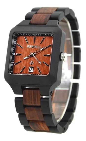 Relógio De Pulso Unissex Bewell Quartzo Em Madeira De Bambu.