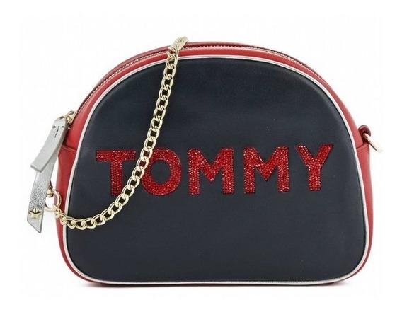 Bolsa Mujer Tommy Hilfiger Color Negra Con Piedras Swarovski