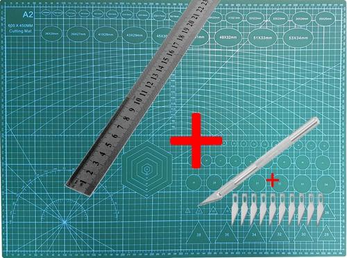 Base Tablero De Corte Tabla   A2  60x45 Cm + Bisturi +regla