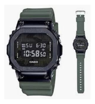Relogio Casio G-shock Gm-5600b-3 Verde Bezel Em Aço