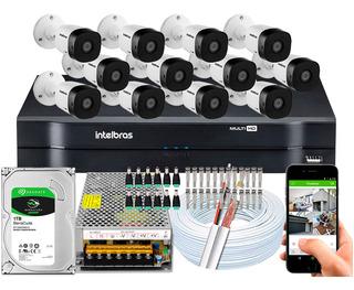 Kit Cftv 12 Câmeras Segurança Intelbras 720p Dvr Mhdx 1116