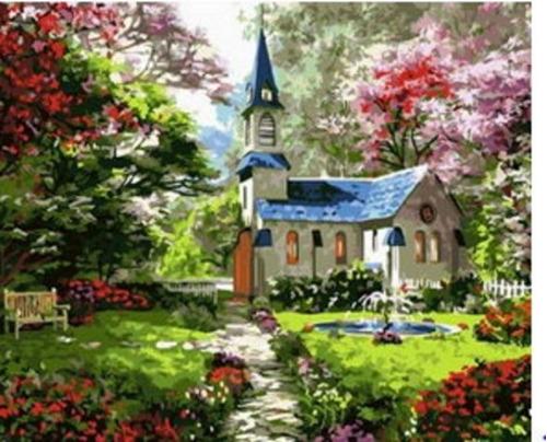 Pintura Numerada Capela Na Primavera