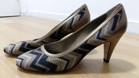 Envio Incl ! Zapatos Stilettos Import Negro Cobre Dorado 38
