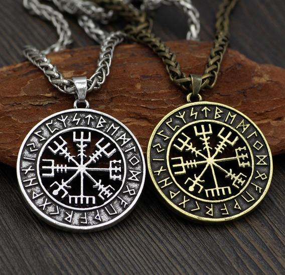 Colar - Viking Vegvisir - Colar - Runas - Cordão - Amuleto
