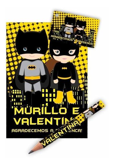 50 Kits Bloquinho + Mini Lápis Tag Personalizado Lembrança