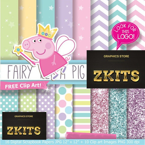 Megakit 3x1 Peppa Pig 6 Kits Fondos + Clipart #191