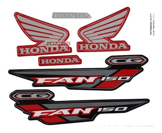 Kit Adesivo Jogo Faixa Moto Honda Fan 150 2014 Esdi Vermelha