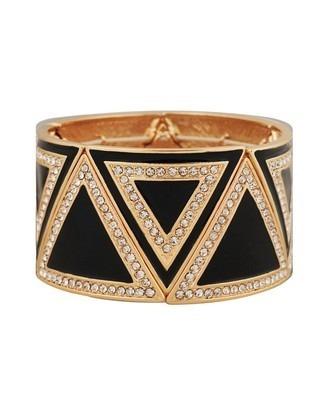 Bracelete Forever 21 Preto E Dourado Triângulos Com Strass