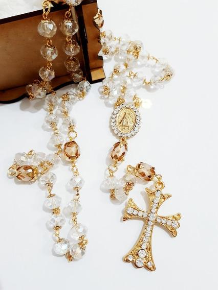 Terço De Noiva Médio, Dourado Com Cristais 10mm, Nossa Senhora Aparecida Com Strass, Pai Nosso Cristal Mel