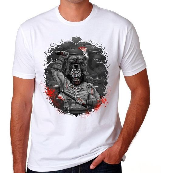Camiseta Berserker Branca Camisa Algodão Premium