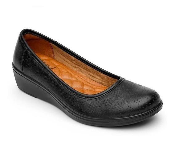 Calzado Dama Mujer Zapato Confort Flexi Piel En Negro Cómodo