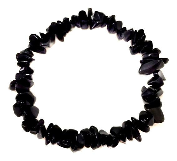 Pulseira Cascalho Obsidiana Negra Elástico Cristais Pedras