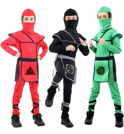 Fantasia Ninja Infantil Longo Luxo Preto Vermelho Verde + Nf