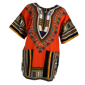 Unisex Africano Imprime Vestido Algodón Dashiki Camisa Étn