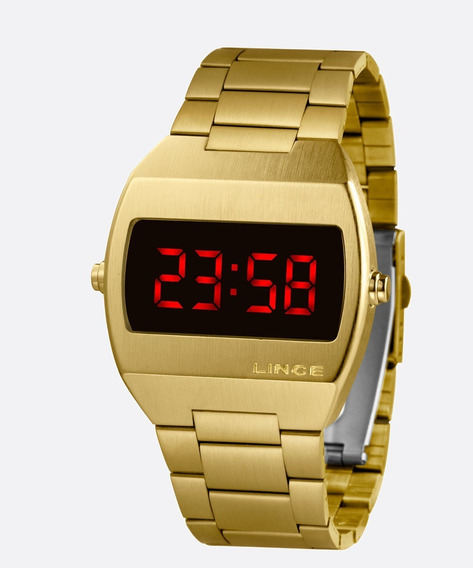 Relógio Lince Led Digital Dourado Unissex Led Mdg4620l